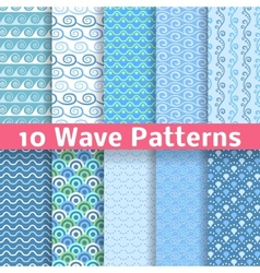Wave different seamless patterns tiling vector