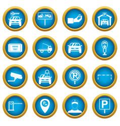 Parking set icons blue circle set vector