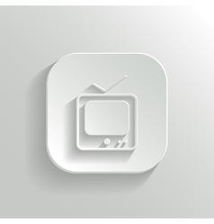 Tv icon - white app button vector