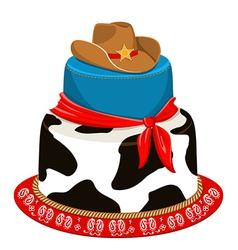 Cowboy party birthday cake vector