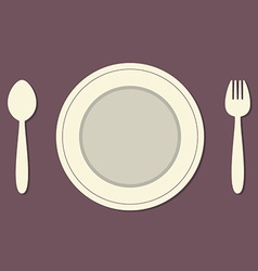 Empty plate with spoon and fork vintage style vector