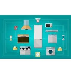 Colored flat icons for kitchen appliances vector