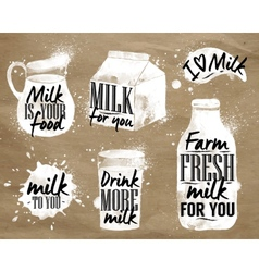 Milk symbolic drawing kraft vector