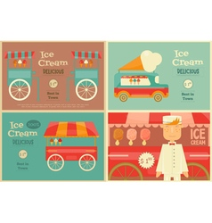 Ice Cream Posters Set vector image