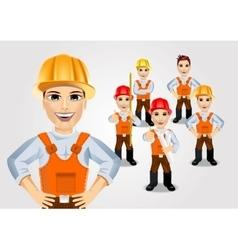 Construction engineer worker builder set vector