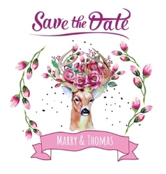 Deer watercolor save the date eps 10 wedding vector