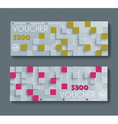 Gift voucher template with retro geometric pattern vector image