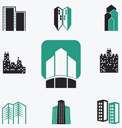 Buildings web icons set vector