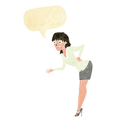 Cartoon businesswoman explaining with speech vector