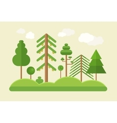 Flat design green trees summer landscape vector