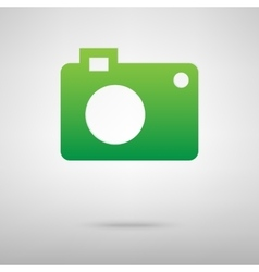 Camera green icon with shadow vector
