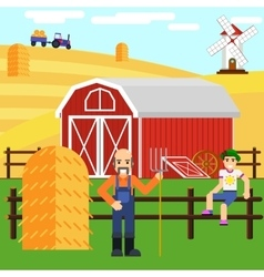 A boy and farmer at farm with barn vector