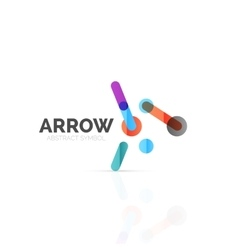 Linear arrow abstract logo connected multicolored vector image
