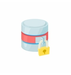 Secured database icon cartoon style vector