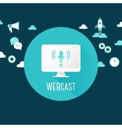 Webcast or live stream  computer with vector
