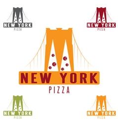 Brooklyn bridge new york pizza concept design vector