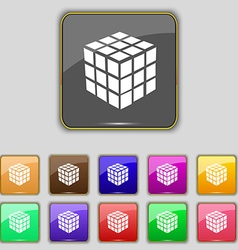 A three sided cube puzzle box in 3d icon sign set vector