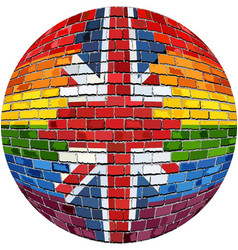 Ball with great britain and gay flags vector