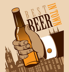 Banner with a human hand with a bottle of beer vector