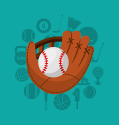 Baseball sport emblem icon vector