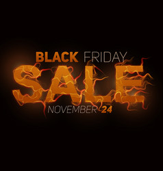 Black friday sale text with orange fire vector