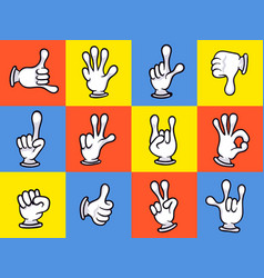 Cartoon hands showing different signs icon set vector