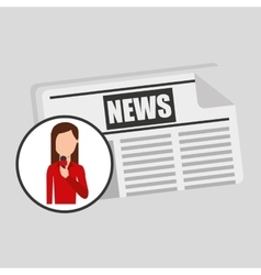 Character woman reporter news template graphic vector