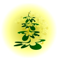 Christmas tree with gold balls on background with vector image vector image