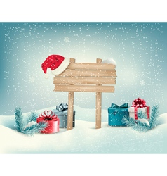 Christmas winter background with presents and vector