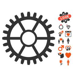 clock wheel icon with dating bonus vector image