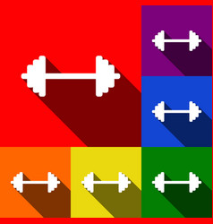 Dumbbell weights sign set of icons with vector