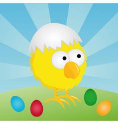 Easter chick with eggshell vector image vector image