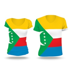 Flag shirt design of Comoros vector image vector image