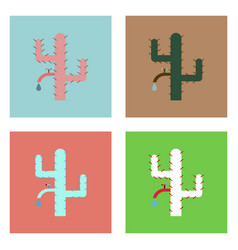 Flat icon design collection cactus with crane vector