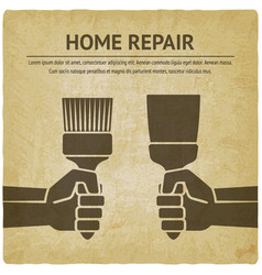 Hand with trowel and brush home repair paint vector