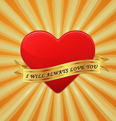 Heart with ribbon and phrase i will always love vector