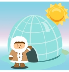 Igloo Ice Hhouse Eskimo On Isolated And boy vector image