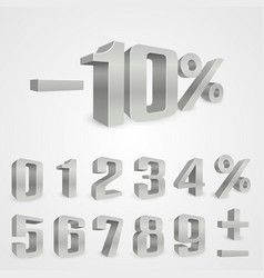 interest rebate set grey numbers vector image