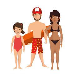 Isolated cute beach family vector