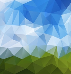 landscape green blue sky polygon triangular vector image