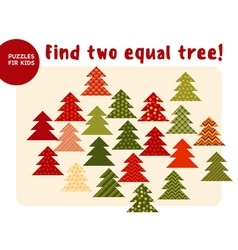 Little christmas trees in traditional color style vector