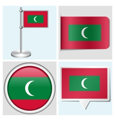 Maldives flag - sticker button label flagstaff vector image vector image