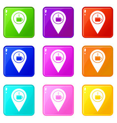 Map pin location with tea or coffee cup sign 9 set vector