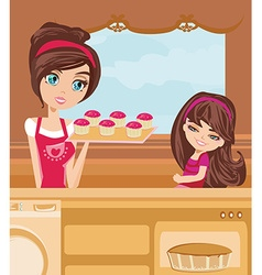 Mother and daughter baking muffins vector