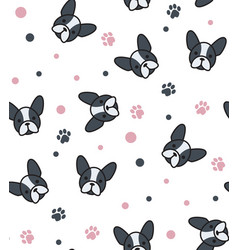 Pattern with french bulldog and canine tracks vector