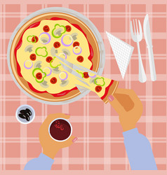 person is eating pizza vector image