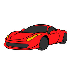 Red car icon cartoon vector