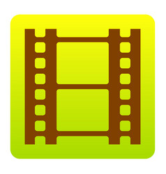 Reel of film sign brown icon at green vector