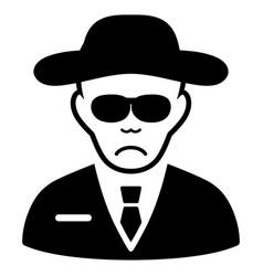 Sad spy black icon vector