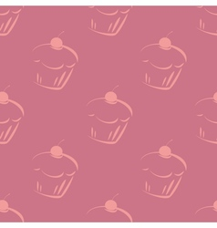 Seamless violet pattern or tile cupcake background vector